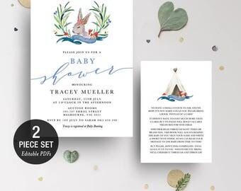 INSTANT DOWNLOAD Woodland Rabbit Boy Baby Shower Invitation Printable Template - BONUS Detail Card