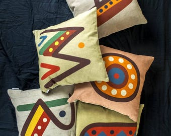 """Beautiful SET 5 Pieces of Cushions with color letters of alphabet, Bright color, 16x16"""", Cotton cushion cover, Child-safe printing"""