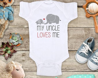 My Uncle loves me cute elephants - Aunt Grandparents Grandpa Godfather Short sleeve Baby bodysuit Toddler Youth Shirt - shower gift surprise