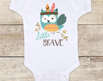 Little BRAVE Owl boho design baby bodysuit baby shower gift - Made in USA - toddler kids youth shirt