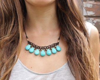 Turquoise Macrame Tribal Boho Chic necklace/hippie bohemian/Macrame/Tribal style brass beads/gift for her/festival necklace