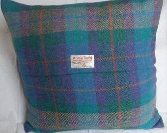 Handmade Harris Tweed Purple/Green Tartan Cushion