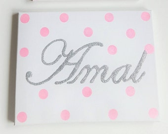 Personalized canvas with glittery name