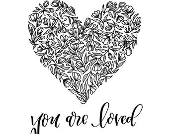 You Are Loved Floral Heart Coloring Page