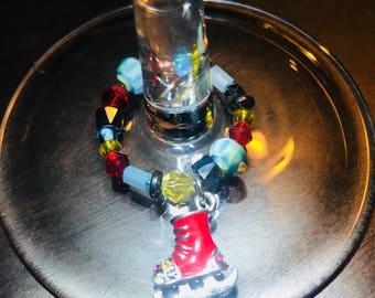 Ice Skate Wine Charm