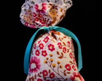 Hand-Made Organic French Lavender Sachet Floral Print w/ Lace