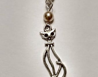 Cat and Pearl Hearing Aid Charm