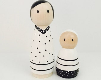 Wooden Peg Dolls - Monochrome Pair