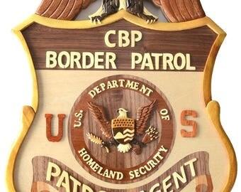 U.S. BORDER PATROL Badge - large - WoodArt Plaque