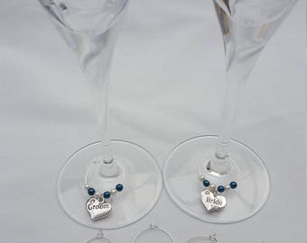 Personalised Detailed Tailor Made Wine Glass Charms Weddings / Hen Parties