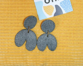 Hey! -These earrings graphic granite, grey stone effect