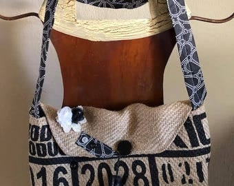 Re-Purposed Coffee Bag Purse, Black and White