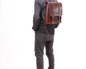 Brown Vegetable Tanned Leather Backpack