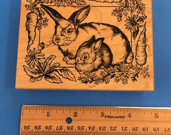 Bunnies and Carrots Rubber Stamp