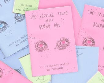 Illustration dog zine 'The Peculiar Truth About Benno Dog' | Handmade pastel pink blue green art story booklet book a5 and a6