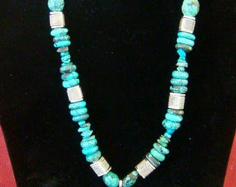 """17"""" African turquoise and heart pendant"""