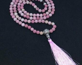 Rhodonite & Garnet Mala Necklace