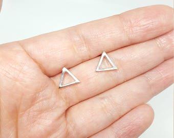 Sterling Silver Geometric Triangle Cutout Stud Earrings
