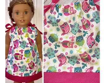 "18"" Doll Clothes/Pillowcase Dress/American Girl Dress/Owls"