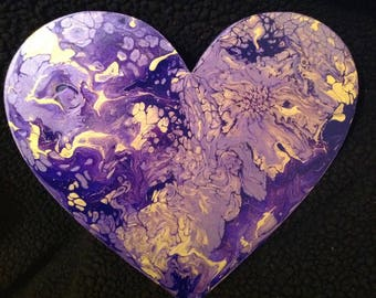acrylic fluid pour on wooden heart shape,