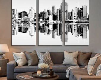 Black and White Manhattan Wall Art Hanging, Panorama Panels Art, Framed Canvas, Printable Photography, Metropolis, USA, Brooklyn, Urban