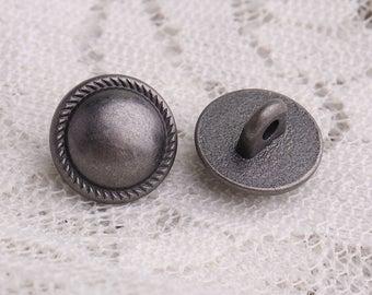 tiny mushroom buttons 10pcs 10*7mm  jagged edge button metal light black buttons shank buttons