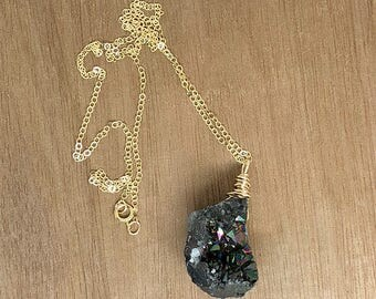 """Dark Gray Druzy Nugget on a 14k Gold Filled 18"""" Chain Necklace"""