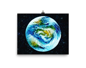 Watercolor Earth Painting | Outer Space Painting | Galaxy | Stars