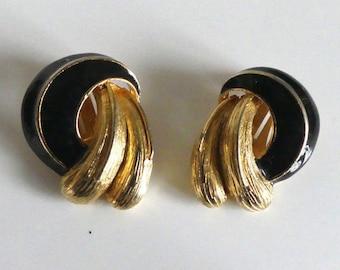 Vintage, enamel clip earrings, 60s, black, gold
