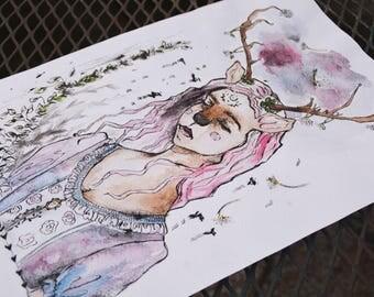 Watercolor Paint Faun Spring