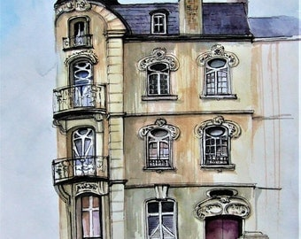 French Art Nouveau Watercolor painting