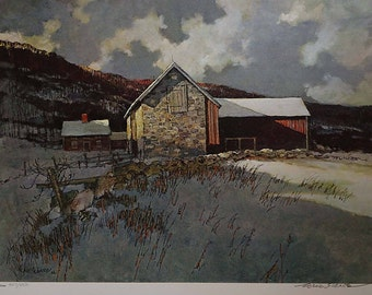 "Rare Eric Sloane Signed and Numbered Limited Edition ""Winter"" Archival Print"