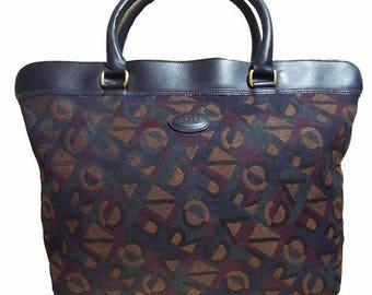 Fiber Street VINTAGE! vintage  beautiful leather and fabric bag