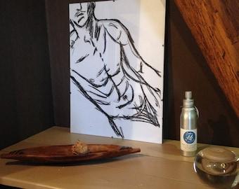 Frame artistic naked man