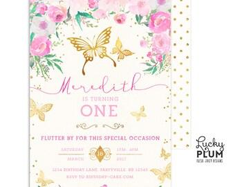 Butterfly Birthday Invitation / Woodland Birthday Invitation / First Birthday Invitation / Pink Purple Birthday Garden Chic Printable BY02