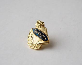 vintage Speech lapel pin . gold tie tack with blue enamel