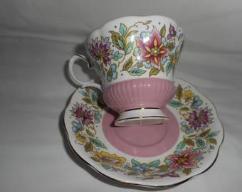 Royal Albert Tea Cup And Saucer Jacobean Chelsea Shape Pedestal Footed