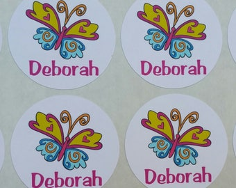 Personalized Butterfly Stickers for Back to School, Name labels, cards, etc set of 20