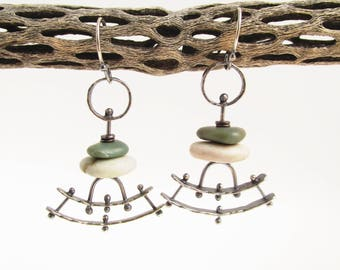 Orpheus Pendulum Sterling Silver Copper and Beach Stone Earrings