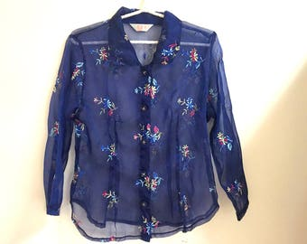 Blue Sheer Floral Embroidered Shirt