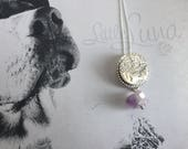 Little Luna Collection - Double Terminated Amethyst Quartz Crystal Drop Pendant