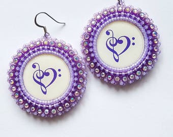 Purple Heart Clef  Beaded Earrings