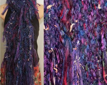 Hand Knit Pot Luck Scarf Purple gypsy boho