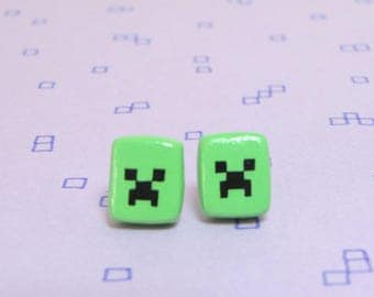 Minecraft Creeper Clay Sterling Silver Post Earrings