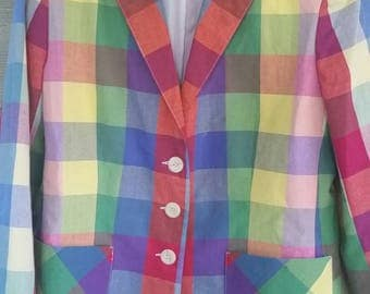 Vtg Donkenny Madras Plaid 3 Button Blazer Size 14