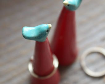 Handmade Teal & Red Bird Ring Cone - Ready to Ship