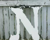 WOODEN LETTER N | Large Wooden Letters | Wedding Guest Book Idea | Distressed Letter | 2 Feet Tall | Guestbook Alternative | Wedding Decor