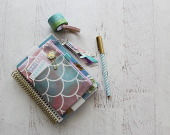 Mermaid mini planner - planner cover pouch - monthly planner - journal accessories - pastel mermaid - mini planner cover