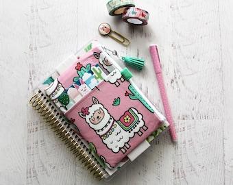 Llama planner - llama planner accessories - planner clip holder - mini planner bag - pink pencil case - llama zipper pouch
