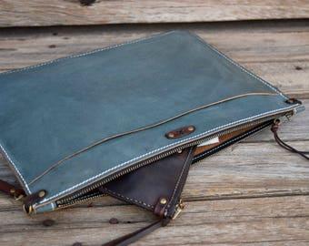 Leather Portfolio / Blue Leather Clutch / Handmade Leather Pouch / Leather Zipper Bag /  Large Clutch /feralempire.etsy.com / Portfolio